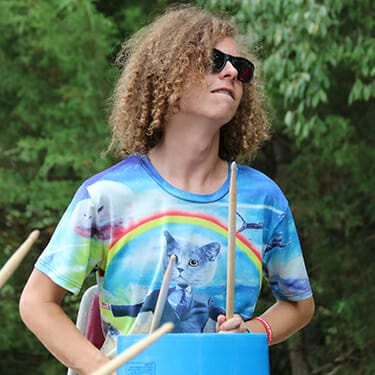 Activity Period Even More At Camp - Camper bucket drumming - Cub Creek Science and Animal Camp