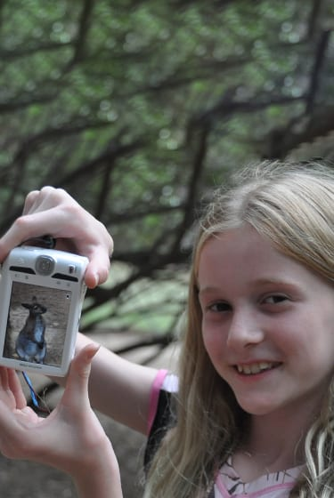 Arts & Crafts At Camp - Digital Photography - Camper showing photo of wallaby - Cub Creek Science and Animal Camp