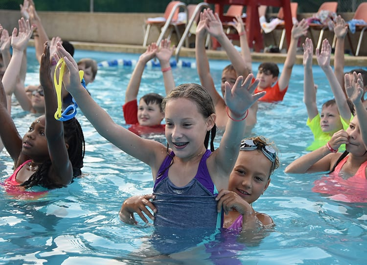 Early Birds & Night Owls - Campers early bird water aerobics - Cub Creek Science and Animal Camp