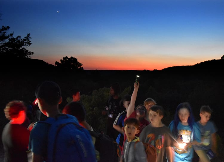 Early Birds & Night Owls - Campers hike to the glade - Cub Creek Science and Animal Camp