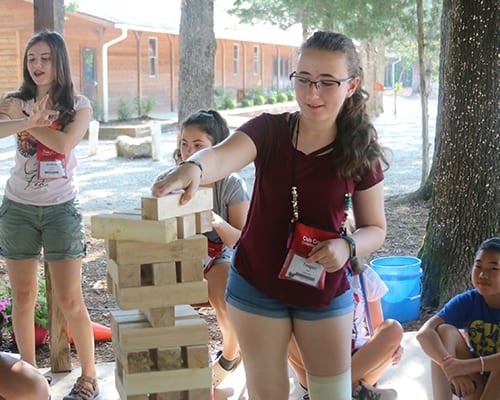 Free Time - Campers playing games - Giant Jenga - Cub Creek Science and Animal Camp
