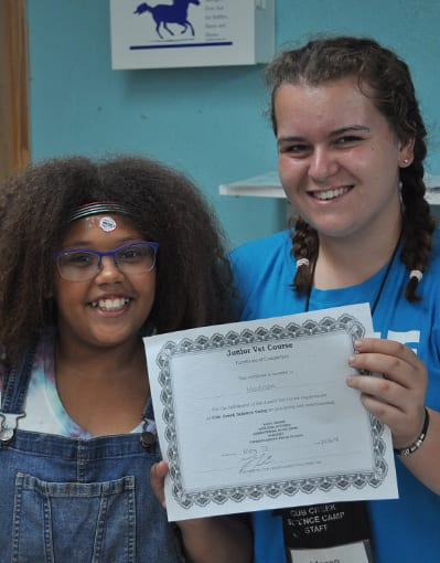 Junior Vet - Camper receives Jr. Vet certification of completion - Cub Creek Science and Animal Camp