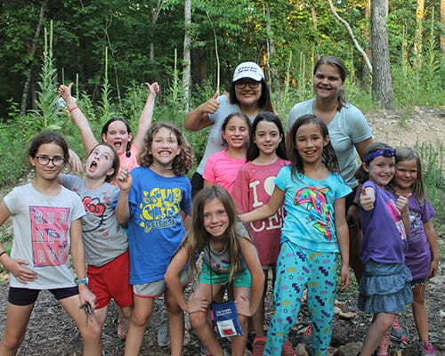 Leadership Programs - ASIT campers with adopted cabin campers - Cub Creek Science and Animal Camp