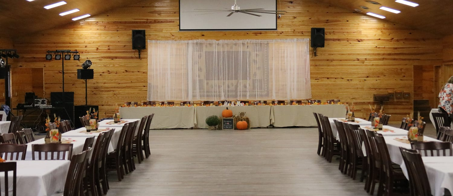 Rental And Rates - Dining hall wedding venue - Cub Creek Science and Animal Camp