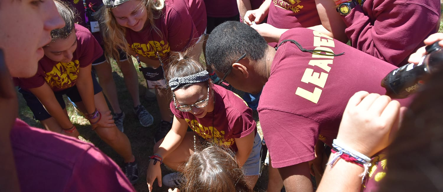 Thinking About Summer Camp - Team building activity staff - Cub Creek Science and Animal Camp
