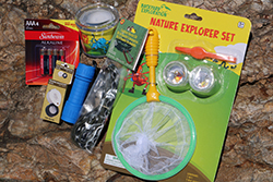 Junior Explorer Care Package <br> Includes: Nature Explorer Set, Flash Light, <br> Batteries, Compass, Para Chord, <br> Critter Cage Magnifier - $12.00