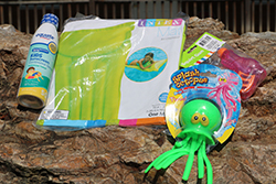 Pool Party Care Package <br> Includes: Sunscreen, Inflatable Pool Mat, <br> Splash Octopus, Squirt Gun - $14.00