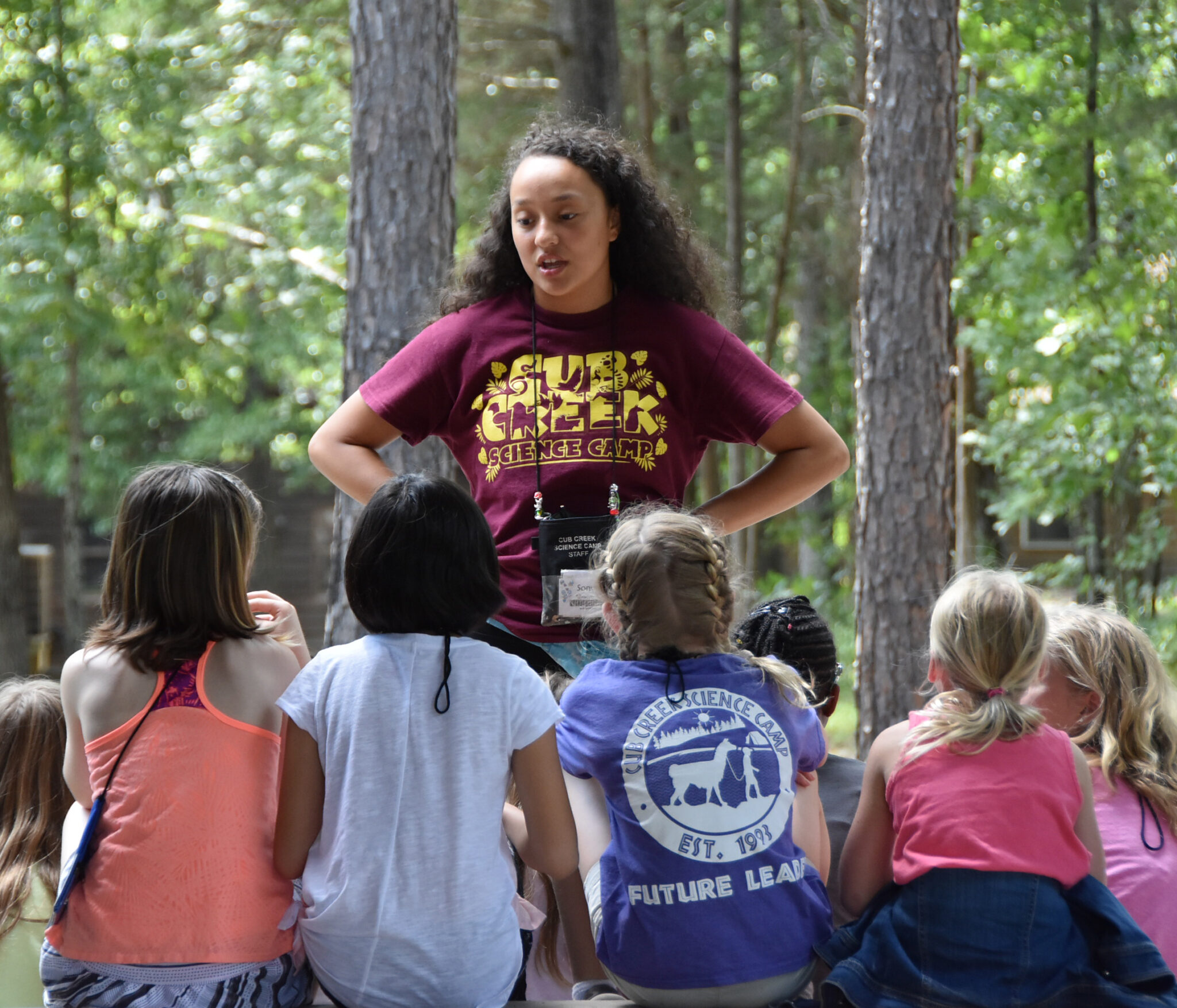 Counselor Talking to Campers- Cub Creek Science Camp