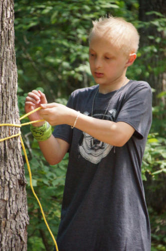 Camper tying knots - Survival Skills - Cub Creek Science Camp