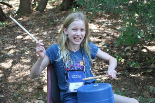 Camper in Can Jam class - Cub Creek Science Camp